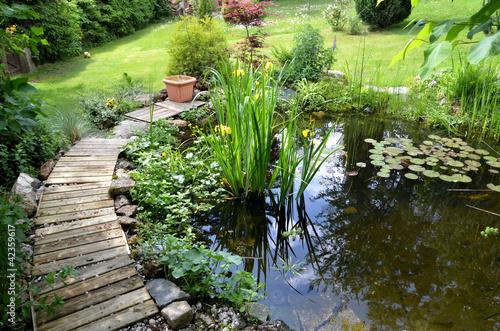 canvas print picture Garten Teich Seerosen
