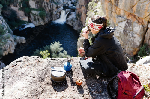 fun backpacker woman