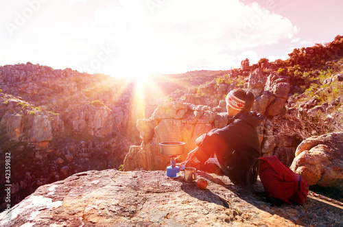 relaxed hiking woman