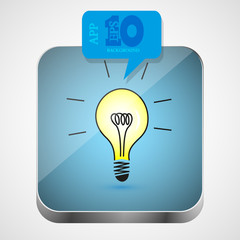 Vector idea app icon with blue bubble speech. Eps10