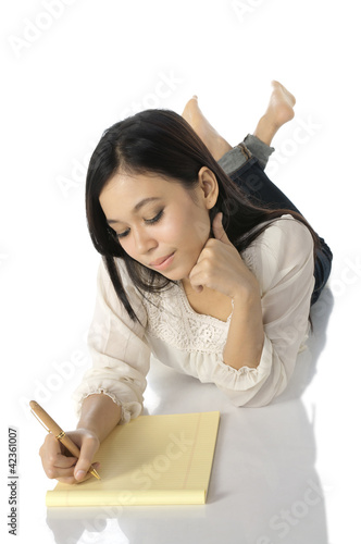 Woman Write On Notebook