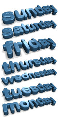 Three dimensional shiny days of the week (english)