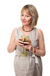 Attractive Smiling Mature Woman Holding Wine Glass