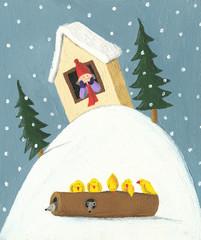 Winter scene - boy in the house