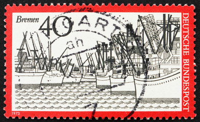 Postage stamp Germany 1973 Ships, Bremen Harbor, Germany