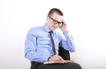 Young business man reading
