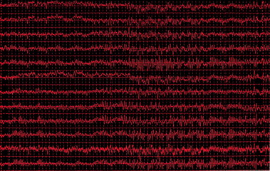 red graph brain wave eeg isolated on black background, texture