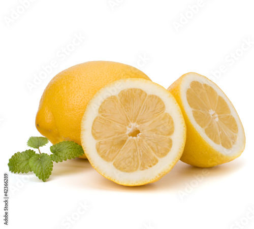 Lemon and citron mint leaf isolated on white background