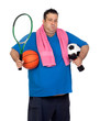 Fat man busy with many sports