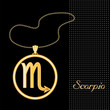 Scorpio Necklace, Chain, gold silhouette astrology symbol