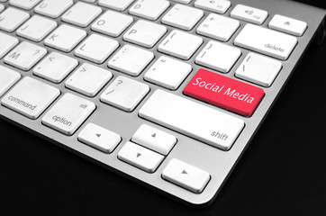 Keyboard with red Social Media button