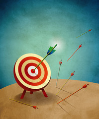 Archery Target with Arrows Illustration