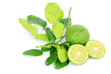 Kaffir Lime with leaves on white background