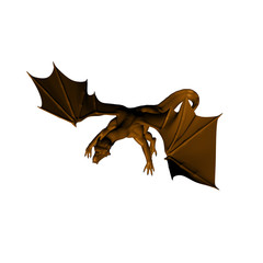 A 3d render of a dragon isolated on white background