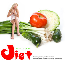 Portrait of a young woman with vegetables. Concept