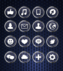 set with social media icons