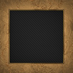 Gold frame isolated on carbon background
