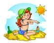girl at the beach applying sunscreen