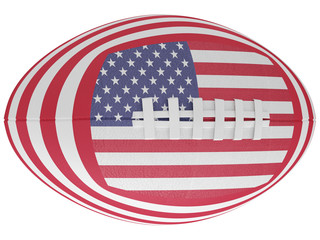 Rugby ball with the symbol of the flag USA