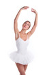 Portrait of ballerina in tutu over white