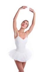 Portrait of ballerina in tutu over white