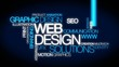 Web design solutions word tag cloud animation blue video