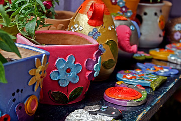 Clay forms painted 4