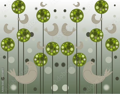 Plakat Green Puff Ball trees on tall trunks with perching birds