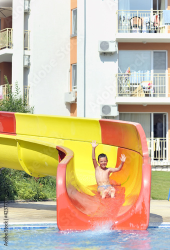 boy on a waterslide