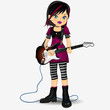 Punk girl with guitar electricas entire f