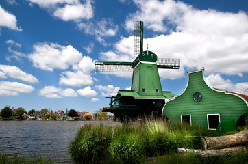 green windmill in Zaanse Schans
