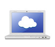 Laptop and cloud computing sign