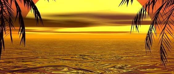 coucher de soleil mer et palmiers