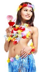 Woman in  costume of Hawaii.