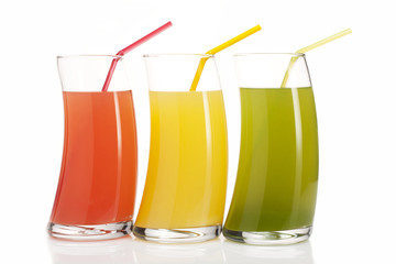 Three glasses of juice