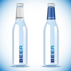 vector beer bottle on white background