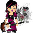 Punk girl with electric guitar
