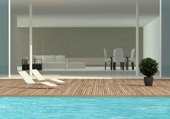 terrace with the swimming pool