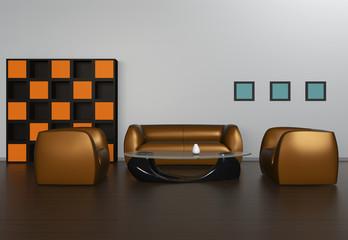 interior with gold tone sofas