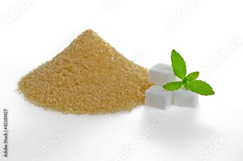 Steviablätter mit Würfelzucker und braunem Rohrzucker