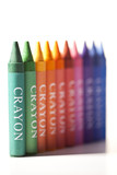Crayons ranging in colour
