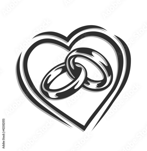 wedding ring in heart vector illustration isolated on white
