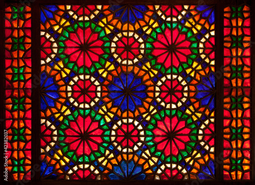 Colorful stained glass window - 42382037