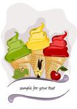 Eis, Eiscreme mit Früchten   Illustration