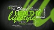 Healthy lifestyle green word tag cloud animation video
