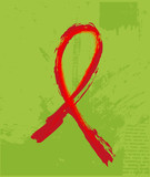 Red Support Ribbon on the grunge background
