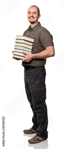 man hold books