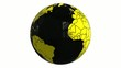 world globe black and yellow