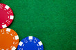 Casino gambling chips with copy space