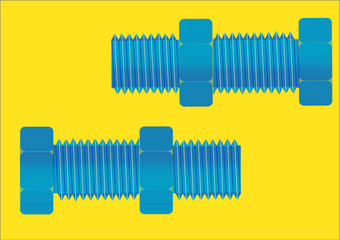 A large nut and bolt on a yellow background